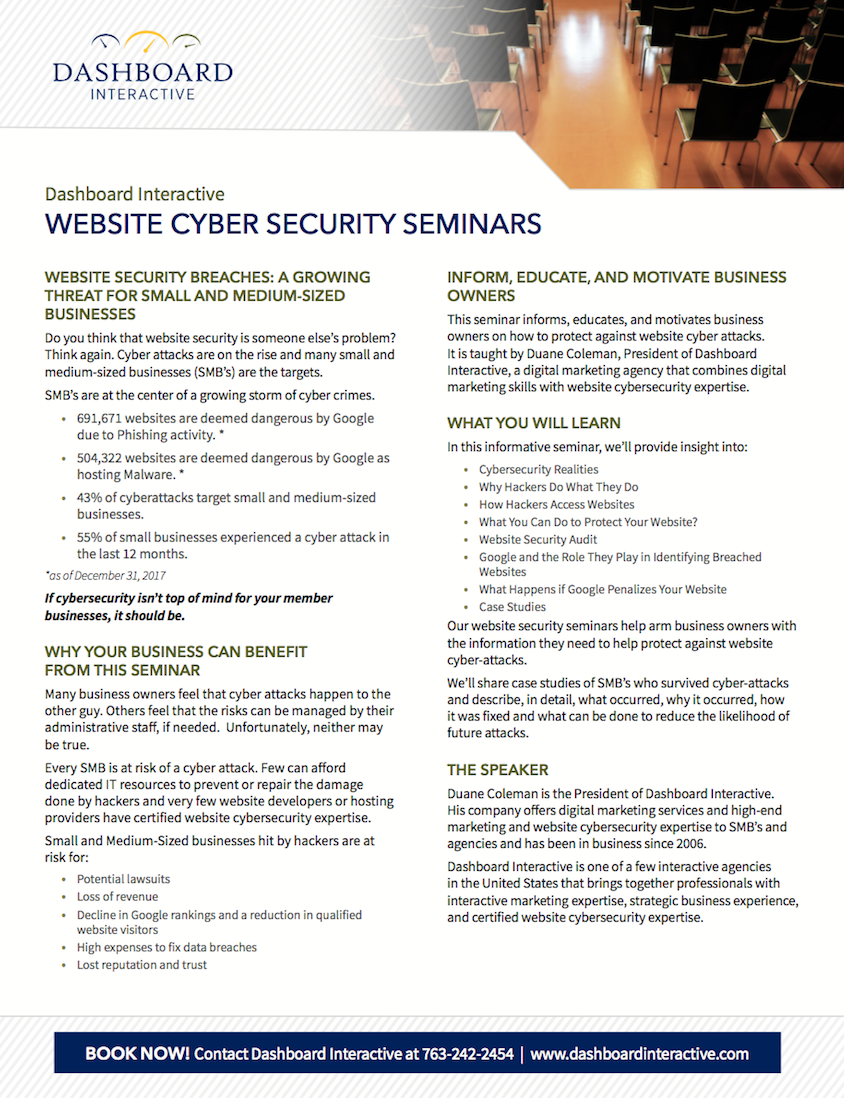 Website Cybersecurity Seminar Brochure PDF